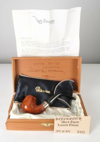 Peterson Dublin Mark Twain Limited Edition Tobacco Pipe W/ Box & Papers 290/400
