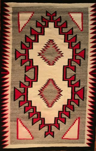 Fine Navajo Klagetoh Rug,  Striking Brown Outlined Red Designs,  C1930,  Nr