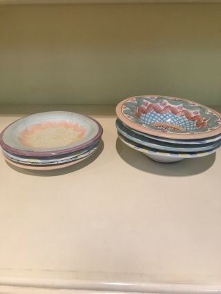 Mackenzie Childs Bowls And Plates 4 Each
