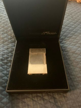 S T Dupont Ligne Lighter - Silver With Vertical Lines