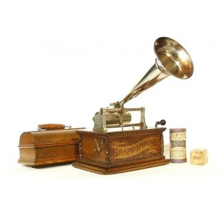 Pint - Sized & Nearly Perfect 1901 Columbia Aa Cylinder Phonograph W/nickel Horn