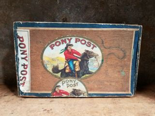 """Vintage """" Pony Post """" Old Wooden Horse Rider Cigar Box Early American"""