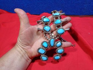 Old Native American Indian Squash Blossom Necklace Turquoise & Sterling Silver