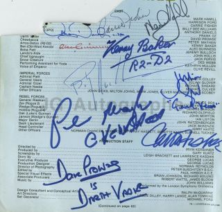 Empire Strikes Back Cast Signed By 8: Fisher,  Hamill,  Baker,  Mayhew & More
