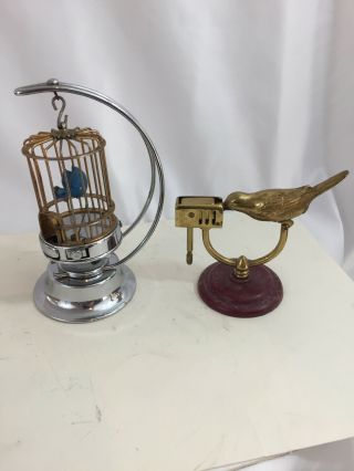 2 Figural Table Lighters - Mioj Bird Cage & Made In Japan Bird With Wick In Beak