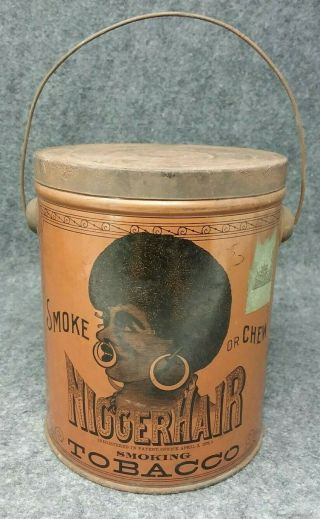 Pre Bigger Hair Tobacco Tin Black Americana B.  Leidersdorf Co.  Milwaukee,  Wis