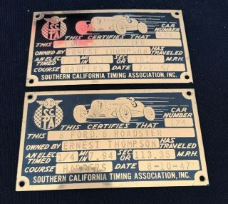 Southern California Timing Association (scta) 1947 Course Timing Tags,  Roadster