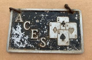 "1950s - 60s Car Club Plaque ""aces"" Chicago Metal Craft California Rat Rod Hot Rod"
