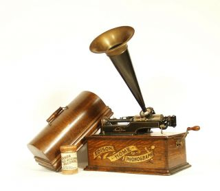 1905 Edison Home Phonograph W/original Horn 2/4 Minute Gearing Banner Front