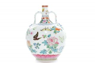 A Very Fine Chinese Famille Rose Porcelain Moonflask Vase 3