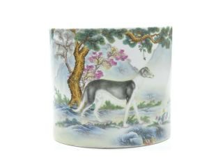 A Very Fine Chinese Famille Rose Porcelain Brush Pot