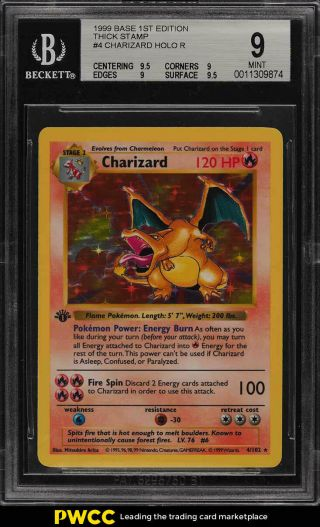 1999 Pokemon Game 1st Edition Holo Charizard Thick Stamp 4 Bgs 9 (pwcc)