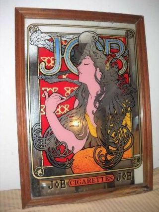 Vintage Job Cigarette Papers Glass Mirror Bar Man Cave Garage Sign Retro Mucha