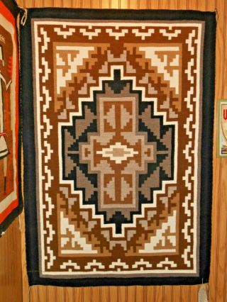 Navaho Navajo Rug/weaving.  Tightly Woven Two Grey Hills Area.  Excond