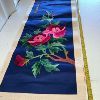 """Vintage Chinese Embroidered Blue Silk Tapestry Panel Tree Flowers 37 """" X 15.  5 """" 4"""