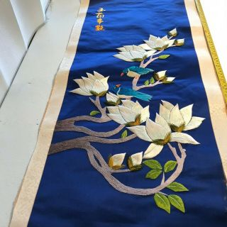 """Vintage Chinese Embroidered Blue Silk Tapestry Panel Flower Birds 35.  5 """" X 15 """" 7"""