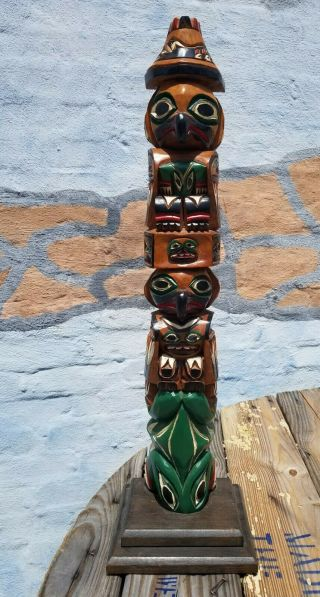 """John Williams Wooden Carved Totem Pole 26"""" Native American"""