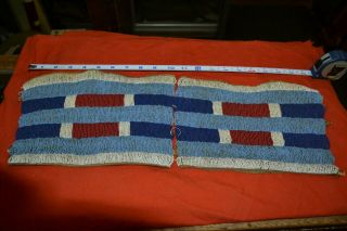 Brule? Sioux Beadwork Section On Leather Late 1880