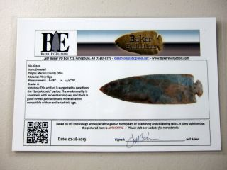 Fine Authentic 6 1/8 Inch Collector Grade 10 Ohio Dovetail Point Arrowheads 6