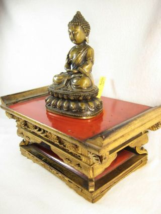 Antique Japanese 140 Year Old Highly Carved Buddhist Altar Stand Gold Lacquer