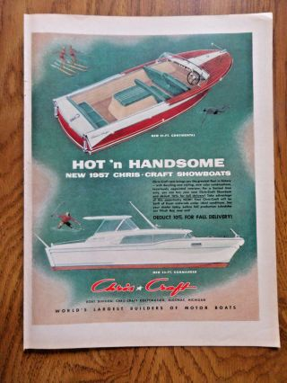 1956 Chris Craft Boats Ad 21 Ft Continental & 32 Ft Commander Showboats