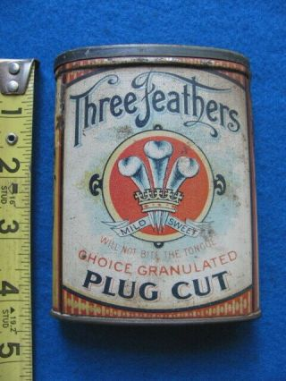 Vintage,  Rare,  Three Feathers Pocket Tobacco Tin