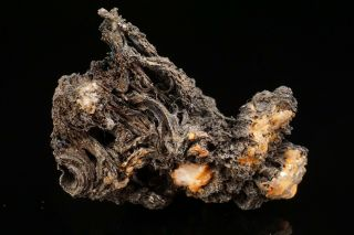 Unique Acanthite After Native Silver Wires Himmelsfurst,  Germany - Ex.  Robertson