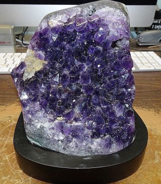 Large Amethyst Crystal Cluster Geode From Uruguay Cathedral Polished; Calcite