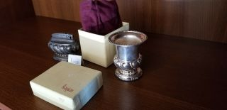 Ronson Crown Silver Plate Cigarette Holder And Lighter Orig Box Bag Cloth