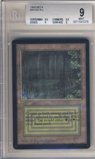 1993 Magic The Gathering Mtg Beta Dual Land Bayou Bgs 9.  0