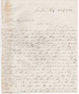 Rare 1864 Letter From Empire City Washoe Co Nevada Mining On The Carson River