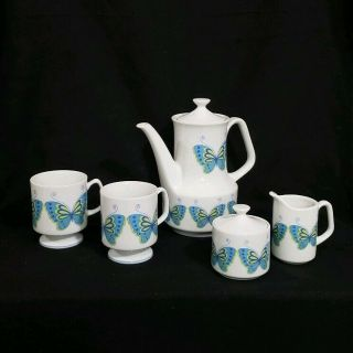 Mid Century Porcelain Coffee Tea Set With Blue And Green Butterflies