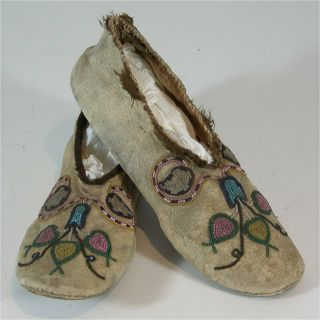 1890s Pair Native American Cree Indian Bead Decorated Hide Moccasins Beaded