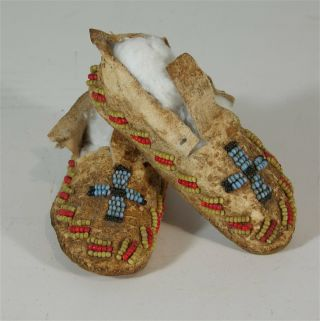 1880s Pair Native American Cheyenne Indian Bead Decorated Hide Moccasins Childs