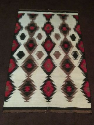 Antique Navajo Transitional Blanket Rug With Connecting Diamonds,
