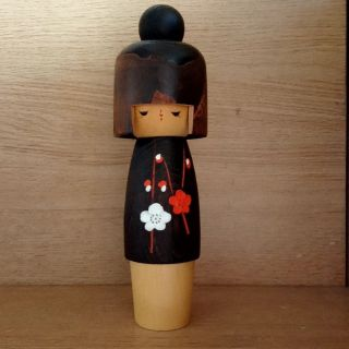 8.  7 Inch Cute Kokeshi Wooden Doll By Usaburo Japanese Traditinal Craft