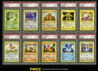 1999 Pokemon Game 1st Edition Non - Holo Complete Psa 10 Set Pikachu Machop (pwcc)