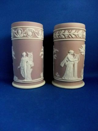 Antique 19thc Matched Wedgwood Lilac Jasperware Spill Vases