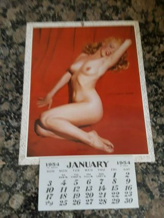 Vintage 1954 Marilyn Monroe Calendar Golden Dreams Pin Up Nude Cond