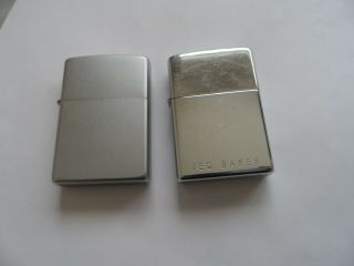 2 Vintage Zippo Lighters Brushed Chrome Finish And Ted Baker.  Uk Bidders Only.