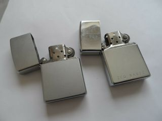 2 Vintage Zippo Lighters Brushed Chrome Finish and Ted Baker.  UK Bidders Only. 2