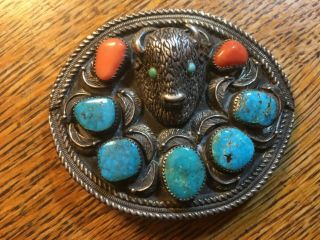 Native Signed Lp Sterling Silver Belt Buckle Buffalo Head 8 ? Turquoise Coral