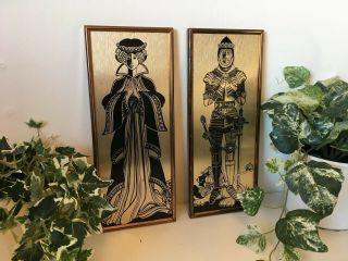 Vintage Mid Century Modern Mcm Copper Metal Picture Art Wall Hanging Queen Knigh