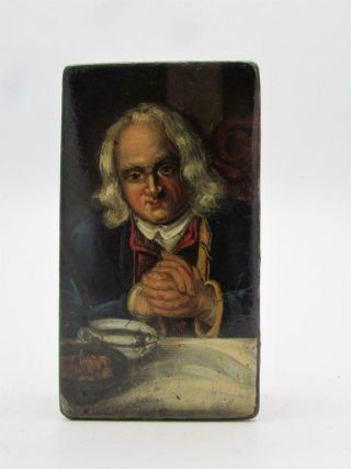 Rare Antique 18th / 19thc Papier Mache Snuff Box - Superbly Painted