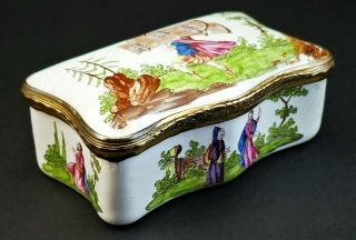 1780 Antique 18thc Georgian Staffordshire Bilston Enamel Trinket Table Snuff Box