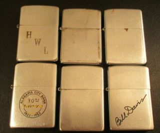 Vintage Zippo Lighters (6) All 1949,  Pat 2032695,  All Work Fine