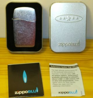 Zippo Blu Lighter Brush Chrome In Collector Tin With Instructions
