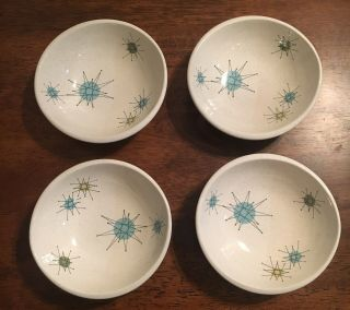 Franciscan Atomic Starburst Small Fruit Bowls Set 4 Mid - Century