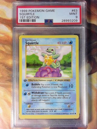 1999 Pokemon Game 63 Squirtle 1st Edition Shadowless Psa 9 Card