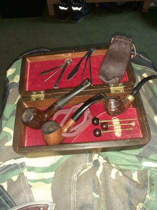 Briar Pipes With Hardwood Box Brass And 3 In 1 Tools